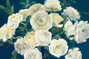 Roses in Cobalt Vase Indigo Crop by Marilyn Hageman