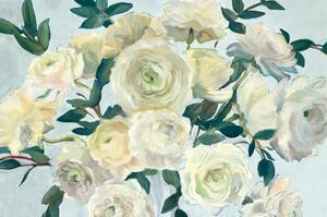 Roses in Cobalt Vase Spa Blue Crop by Marilyn Hageman