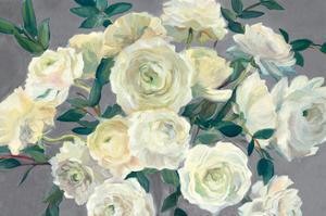Roses in Cobalt Vase Steel Gray Crop by Marilyn Hageman