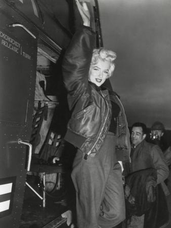 Marilyn Monroe Arriving by Helicopter at a U.S. Military Base in Korea