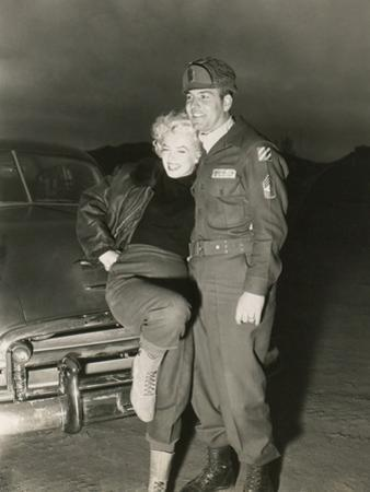 Marilyn Monroe Poses with a U.S. Soldier in Korean During Her USO Tour