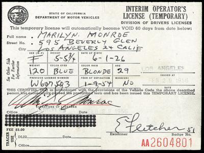 Marilyn Monroe's Driver's License, 1956