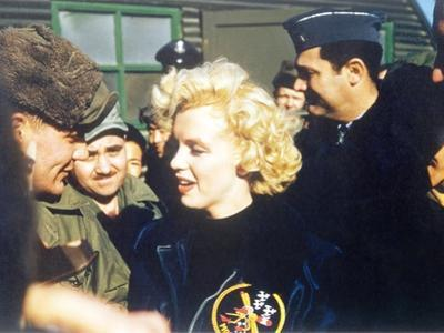 Marilyn Monroe Wearing a Jacket with the 'Mosquito' Patch of the 6147th Tactical Control Group