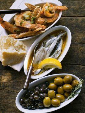 Marinated Sardines, Fried Scampi and Olives