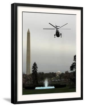 Marine One, with President Barack Obama Aboard, Leaves the White House in Washington