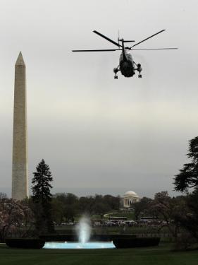 Marine One, with President Barack Obama Aboard, Leaves the White House in Washington