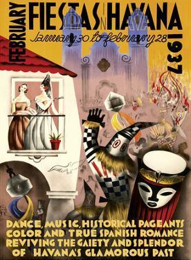 February Fiestas in Havana - January 30 to February 28, 1937 - Dance, Music, Historical Pageants by Mario Carreño