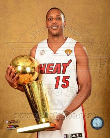 Mario Chalmers with the NBA Championship Trophy Game 7 of the 2013 NBA Finals