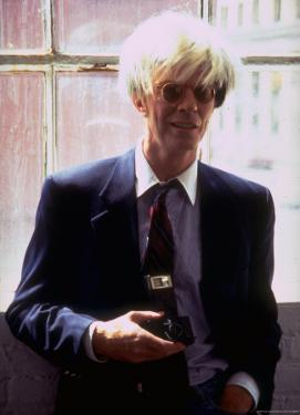 "Actor David Bowie, as Artist Andy Warhol, in a Publicity Still for the Film ""Basquait"" by Marion Curtis"