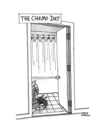 A woman purges in her toilet as a dieting method. - Cartoon