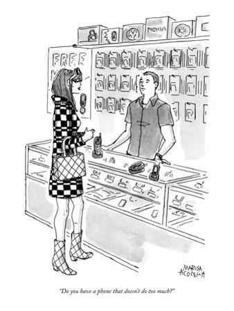 """""""Do you have a phone that doesn't do too much?"""" - New Yorker Cartoon"""
