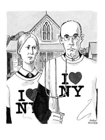 Grant Woods' 'American Gothic' couple dressed in I Love NY t-shirts. - New Yorker Cartoon