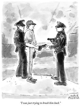 """""""I was just trying to brush him back."""" - New Yorker Cartoon"""