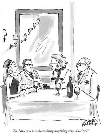 """""""So, have you two been doing anything reproductive?"""" - New Yorker Cartoon"""