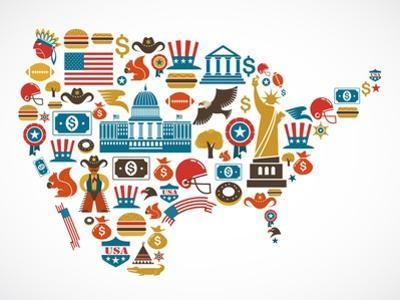 America Map With Many Icons by Marish