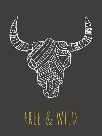 Bohemian Style Bull Skull Poster by Marish