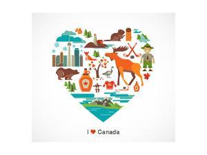 Canada Love - Heart With Many Icons And Illustrations by Marish