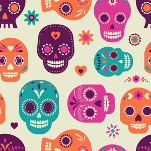 Colorful Skull Cute Pattern, Mexican Day of the Dead by Marish