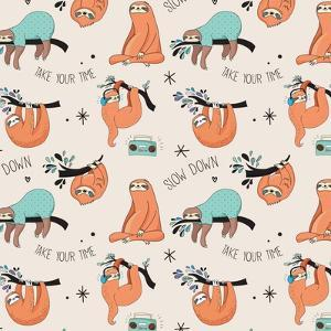 Cute Hand Drawn Sloths, Funny Vector Cute Hand Drawn Sloths Illustrations, Seamless Pattern by Marish