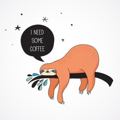Cute Hand Drawn Sloths, Funny Vector Illustrations, Poster and Greeting Card by Marish
