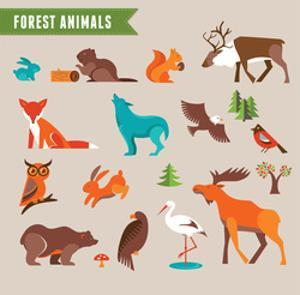 Forest Animals Vector Set of Icons and Illustrations by Marish