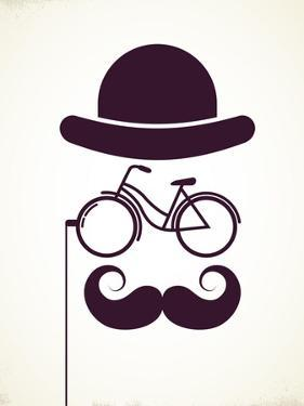 Gentlemen With Bicycle Eyeglass - Vintage Style Poster by Marish
