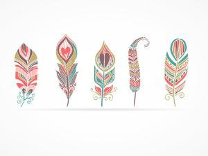 Hand Drawn Bohemian, Tribal, Ethnic Feathers. Colorful Set by Marish