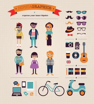 Hipster Info Graphic Concept Background With Icons by Marish