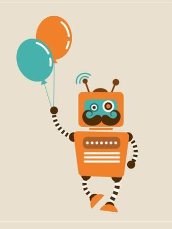 Hipster Vintage Robot With Balloons - Retro Style Card