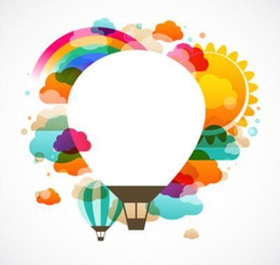 Hot Air Balloon, Colorful Abstract Vector Background by Marish