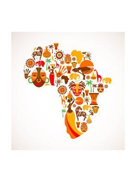 Map Of Africa With Icons by Marish