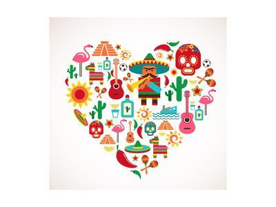 Mexico Love - Heart With Set Ofs