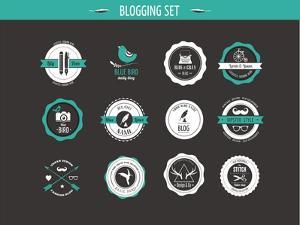Set of Retro Vintage Badges, Blog Elements and Labels, Black Backgound by Marish