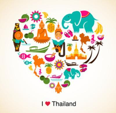 Thailand Love - Heart With Thai Icons And Symbols by Marish