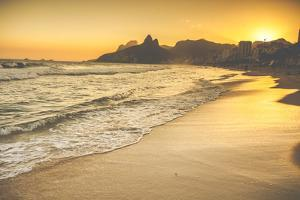 Warm Sunset on Ipanema Beach with People, Rio De Janeiro, Brazil by Mariusz Prusaczyk