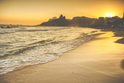 Warm Sunset on Ipanema Beach with People, Rio De Janeiro, Brazil by Mariusz Prusaczyk