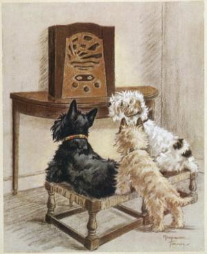 Three Dogs Enjoy a Radio Broadcast by Marjorie Turner
