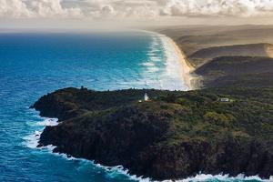 Aerial photograph of Double Island Point Lighthouse, Great Sandy National Park, Australia by Mark A Johnson