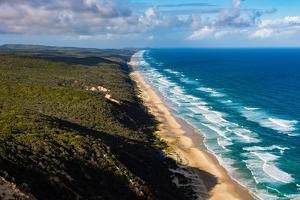 Aerial photograph of the beach & shoreline of Noosa North Shore, Great Sandy National Park by Mark A Johnson