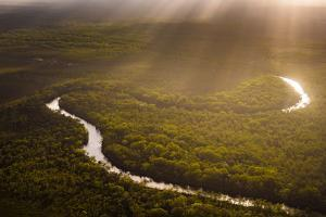 Aerial photograph of the Noosa River, Great Sandy National Park, Australia by Mark A Johnson