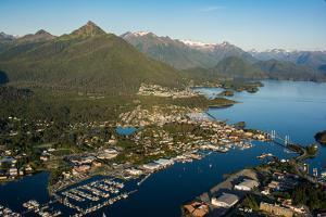 Aerial view of Sitka, Baranof Island, Alexander Archipelago, Southeast Alaska, USA by Mark A Johnson