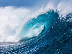 Breaking tubing wave at Teahupoo surf break, Tahiti, French Polynesia by Mark A Johnson