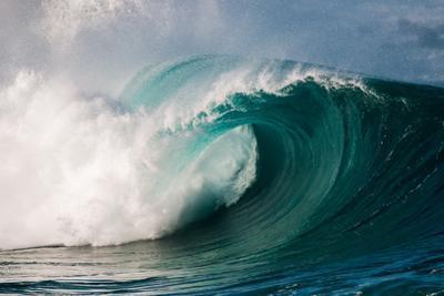 Giant surf at Waimea Bay Shorebreak, North Shore, Oahu, Hawaii by Mark A Johnson
