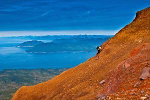 Hiking on the summit of Mt. Edgecumbe, Kruzof Island, Southeast Alaska by Mark A Johnson