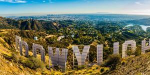 Los Angeles as seen from Mount Lee & through the Hollywood Sign, Hollywood Hills, California, USA by Mark A Johnson