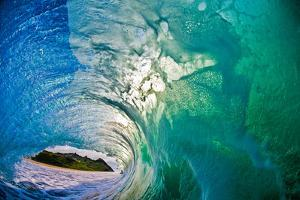 Mountain View-a mountain seen from inside a hollow wave by Mark A Johnson