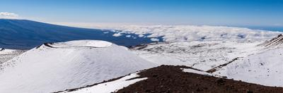 Panorama photograph of snow on the summit of Mauna Kea, Hawaii by Mark A Johnson