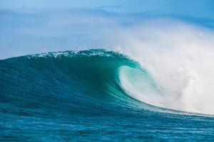 Perfect Wave-Beautiful blue wave breaking over a coral reef, Hawaii by Mark A Johnson