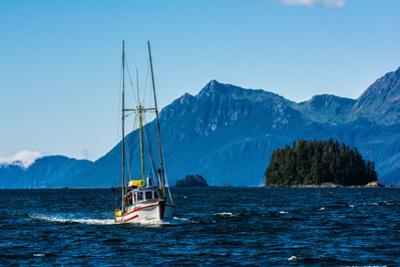 Salmon fishing trolling boat, Inside Passage, Southeast Alaska, USA by Mark A Johnson