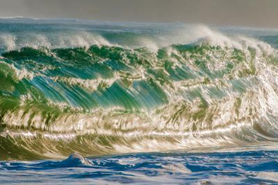 Water Wedge-Super powerful breaking ocean wave, Kauai, Hawaii by Mark A Johnson